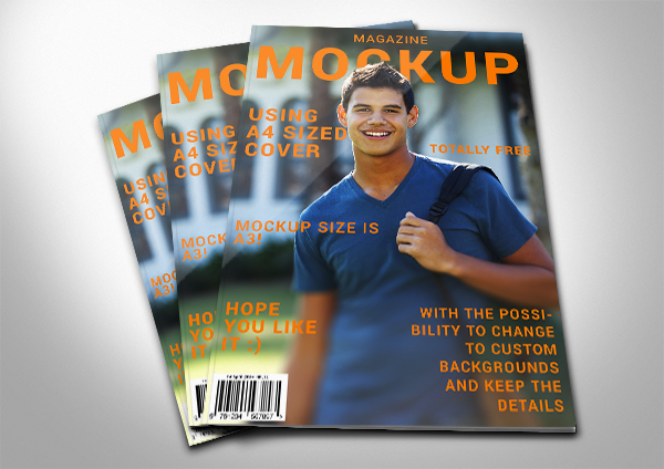 Modern Magazine Cover Mockup PSD