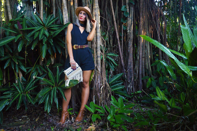 black playsuit with brown accessories