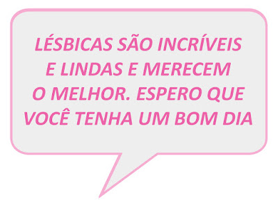 Descrição: balão de texto em rosa, cor da bandeira lésbica, com texto abaixo