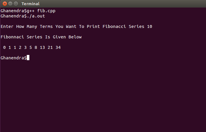 C++ Program To Fibonacci Series Using Functions