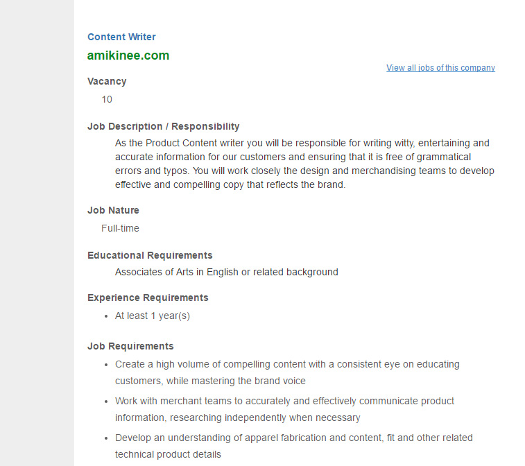 amikinee com - Post: Content Writer - Jobs Opportunity | VACANCY