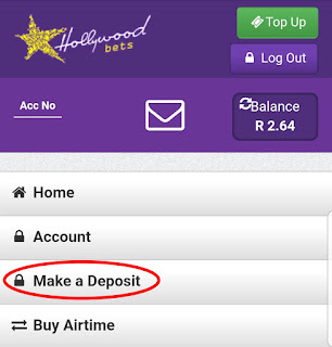 Zapper - Hollywoodbets - How to Deposit - Step 2