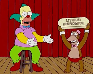 krusty the klown el payaso clown bipolar disorder lithium dibromide bromide drug simpson simpsons mr teeny señor mono monkey