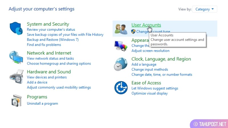 Klik User Accounts - Cara Mengganti Nama Account di Laptop Windows 10