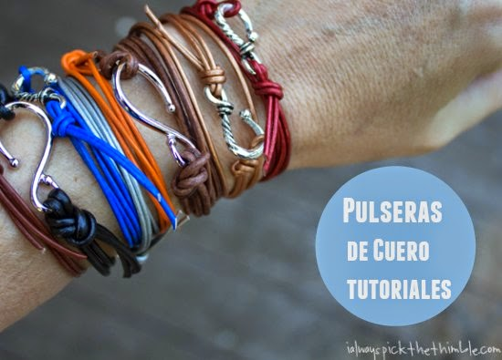 pulseras, cuero, brazaletes, bisutería, tutoriales