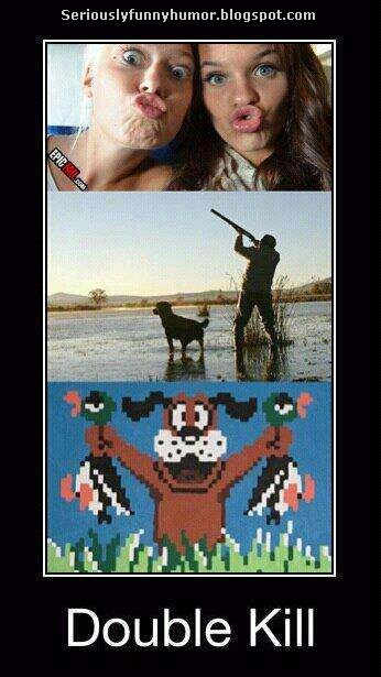 Two girls doing the duckface - get a gun - Double Kill Success!!! :D