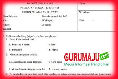 Soal UTS / PTS Kelas 4 Semester 2 Kurikulum 2013