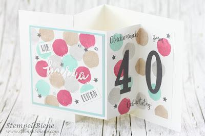 Stampinup; Feierstimmung; Geburtstagskarte 40. Geburtstag; Klappkarte; stempel-biene; labeleralphabet; Zarte Pflaume; Framelits große Zahlen