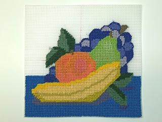 step 3 for fruit needlepoint still life