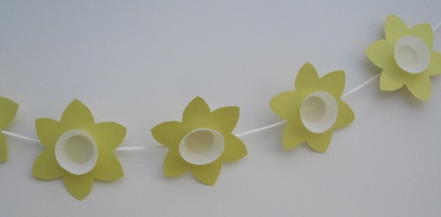 Daffodil bunting hanging from the wall