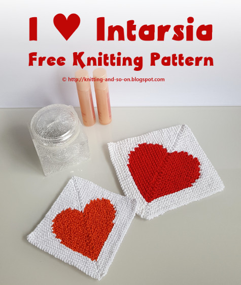 I ♥ Intarsia Washcloth - free knitting pattern