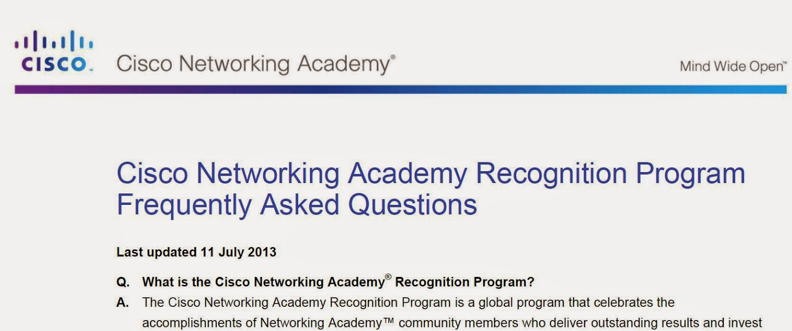 Cisco Networking Academy Recognition Program Frequently Asked Questions