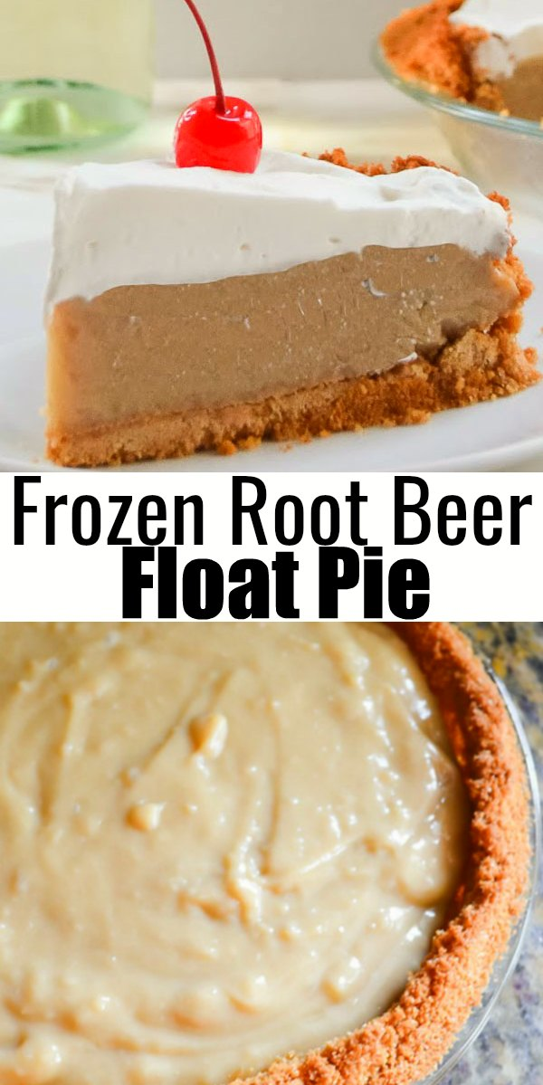Frozen Root Beer Float Pie will quickly become a summertime favorite! All the flavors of root beer float in a creamy frozen pie from Serena Bakes Simply From Scratch.