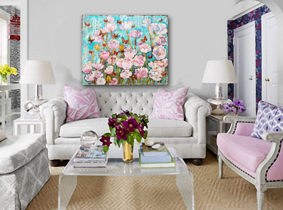 living room decorating idea for pink peony painting http://schulmanart.blogspot.com/2016/04/how-to-grow-peony-garden-painting.html