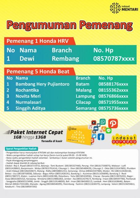 Pemenang Promo Indosat Alfamart Berhadiah Honda HRV