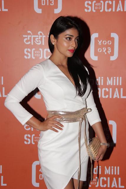 shriya saran looks fabulous in white short dress