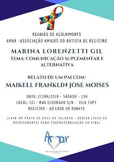 REUNIÃO DE ACOLHIMENTO DA AMAR ACONTECE DIA 27/04 – SÁBADO