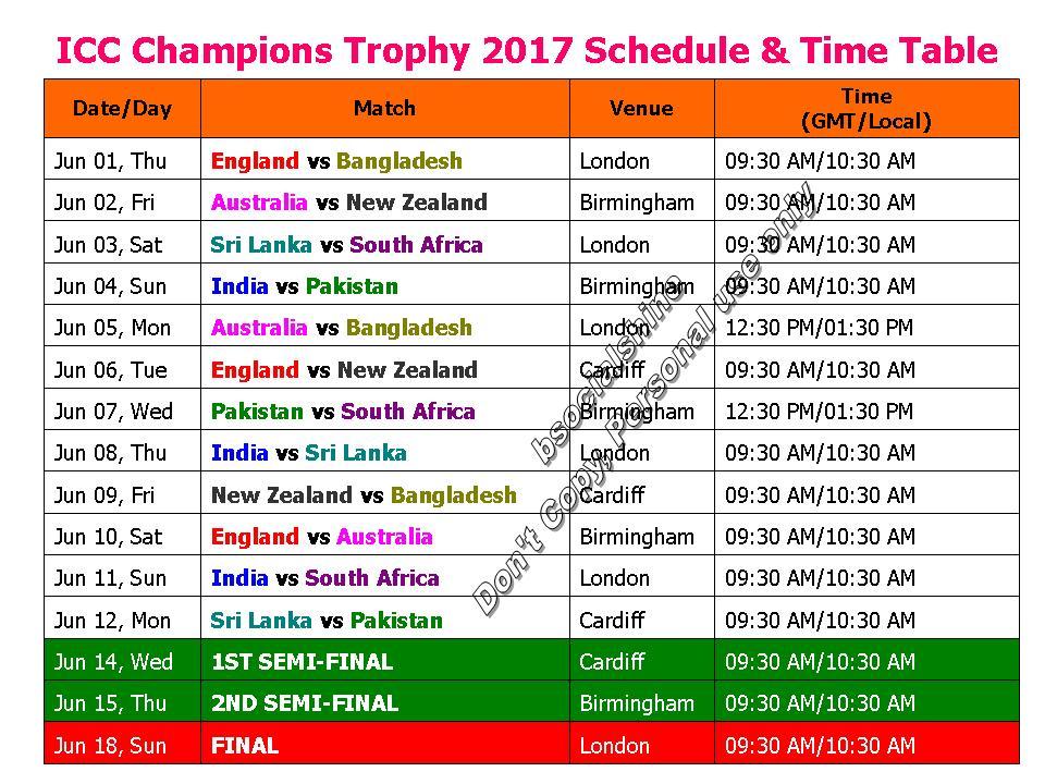 ICC Champions Trophy 2017 Schedule Time TableICC FixtureICC
