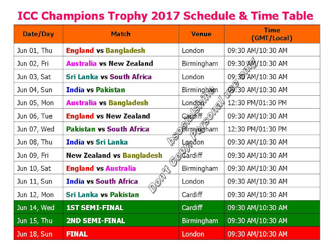 ICC Champions Trophy 2017 Schedule & Time Table,ICC Champions Trophy 2017 fixture,ICC Champions Trophy 2017 teams,ICC Champions Trophy 2017 schedule,Schedule & Time Table,teams,player list,match detail,indian timing,ODI series,pakistan time,England,Bangladesh,Australia,New Zealand,Sri Lanka,South Africa,India,Pakistan,full schedule,local time,gmt,ist,cricket,icc series,icc champions 2017,June series,cricket match detail,image ICC Champions Trophy 2017 Fixture and Time table  ICC Champions Trophy 2017 Start From Jun 01 to Jun 18 Teams : England, Bangladesh, Australia, New Zealand, Sri Lanka, South Africa, India, Pakistan  Click here for more detail..
