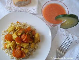 Trigo tierno con pollo y verduras