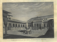 an engraving of the Court of the Lions in the Alhambra in Granada.