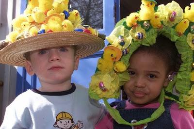 Kids wearing Easter Bonnets