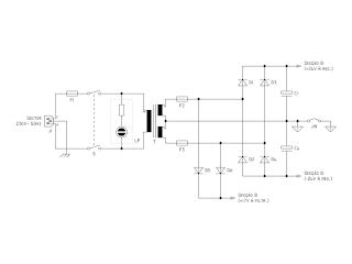 Diagrama do circuito correspendente à secção de alimentação.