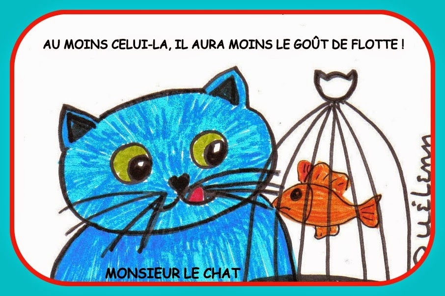poisson volant, chat, dessin,
