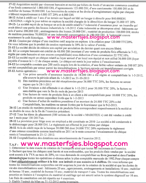 Concours d'accès au Master Sciences de Gestion 2013-2014