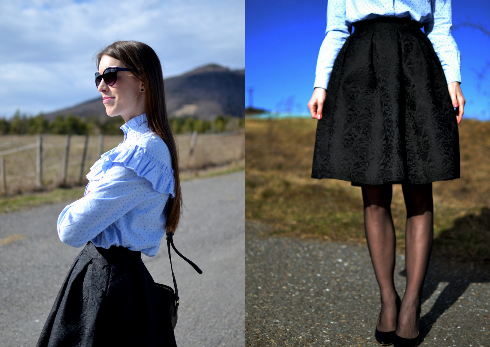 black jacquard skirt & polka dots blouse with ruffle