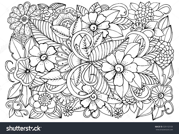 Floral Pattern For Coloring Book Doodle Flowers In Black And White