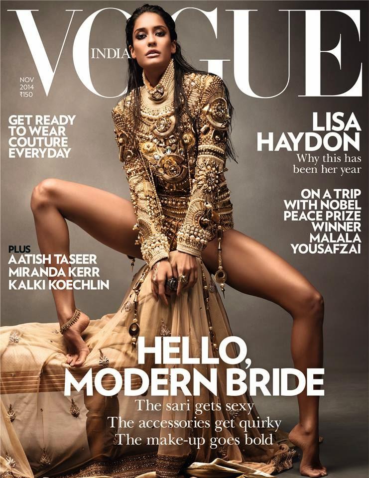 Sexy Lisa Haydon on Cover of Vogue Magazine India November 2014