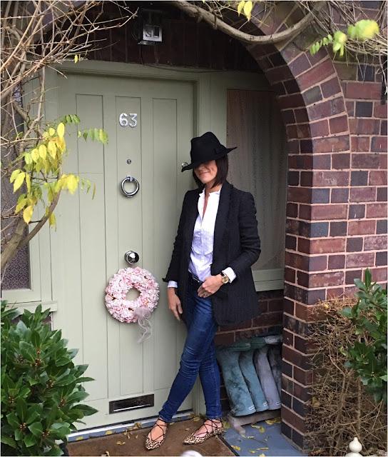 My Midlife Fashion, Mango Pocket Tweed Jacket, Alice Temperley Ruffle Blouse, TU Sainsburys Fedora Hat , Zara skinny jeans, Leopard Print ghille lace up flats