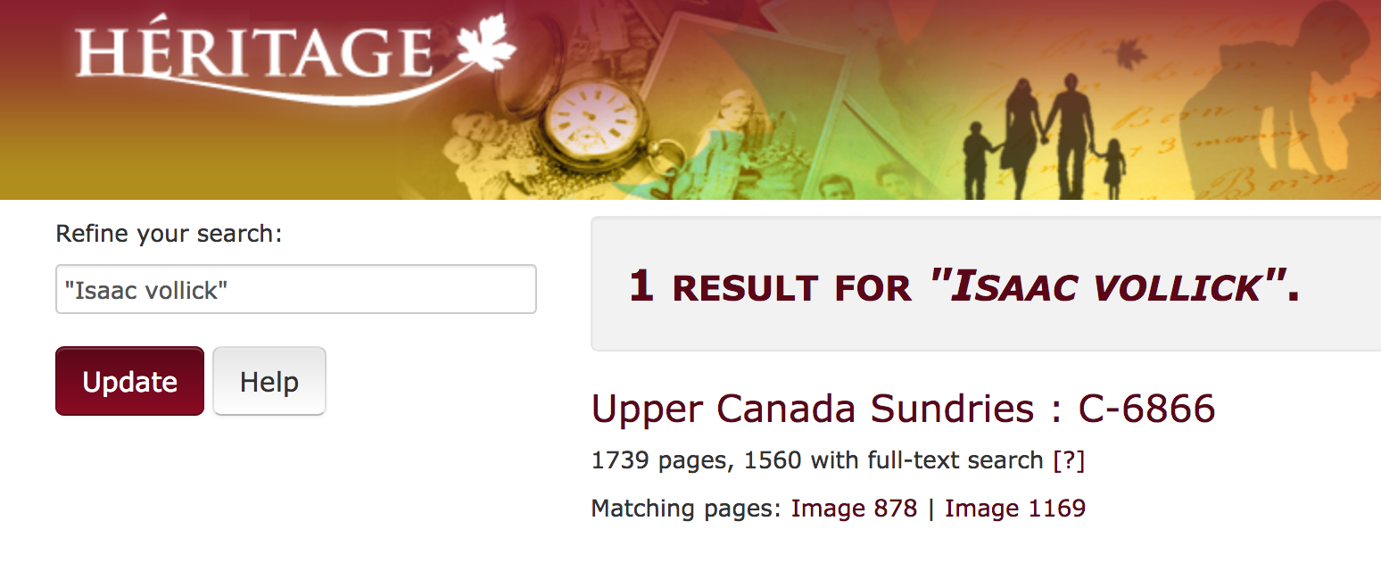 8656b4be697 A new page opened showing that there are 2 results in Upper Canada  Sundries. The text further indicates