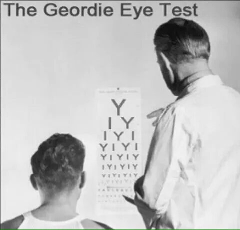 Funny Geordie Eye Test Joke Picture