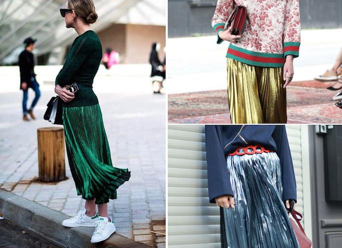 Metallic-pleated-skirt-street-style