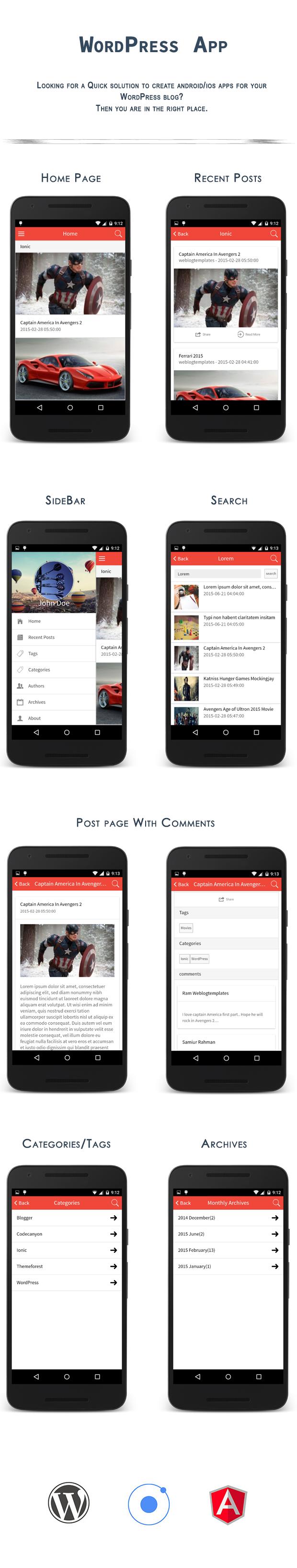 ionwp ionic phonegap cordova wordpress app by weblogtemplates