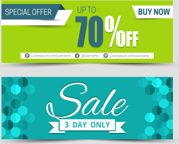 Sales banners sets with contrasted backgrounds Free vector