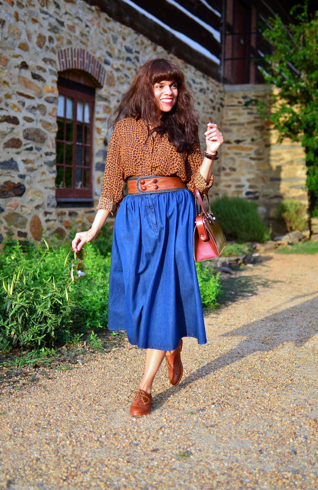 Outfit with flats and long skirt