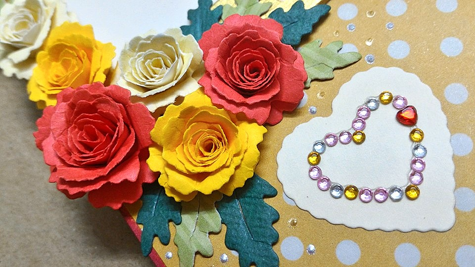 Red And Yellow Roses Tri Shutter Birthday Card