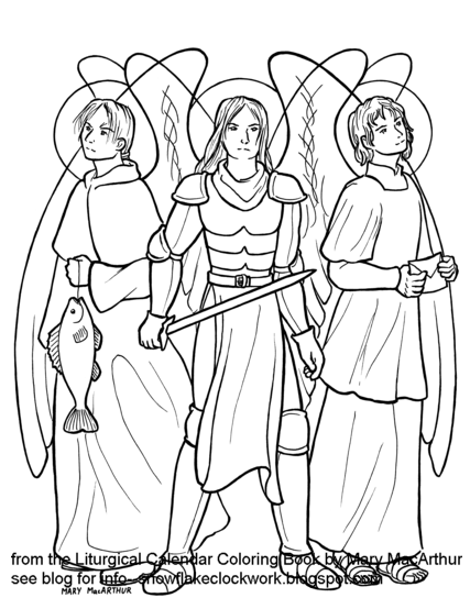 Snowflake clockwork archangels and st jerome for Archangel michael coloring page