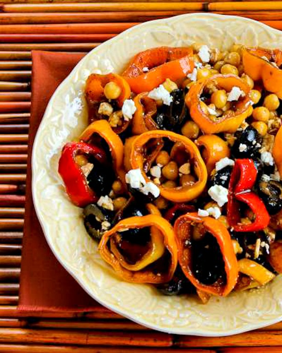 Marinated Pepper Salad  with Garbanzos, Olives, and Feta found on KalynsKitchen.com