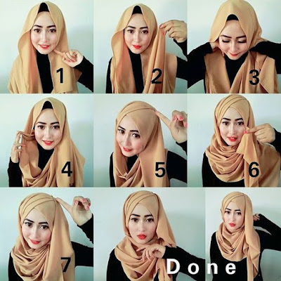 Tutorial Hijab Turban Pashmina Modern Gaya #22 Drappery Side Awesome Lady