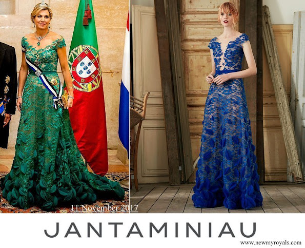 Queen Maxima wore a green lace gown by Jan Taminiau