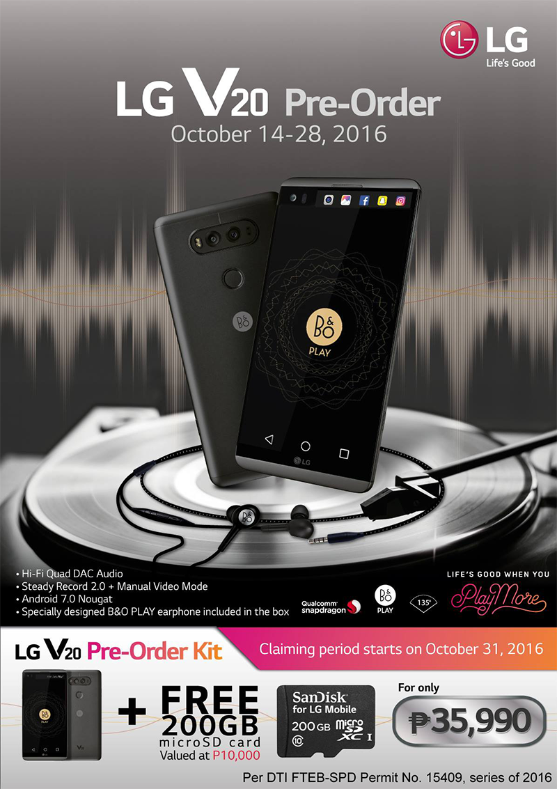LG V20 PH Pre Order Promo Announced, Comes With A FREE 200 GB Micro SD Card For PHP 35990 Only!