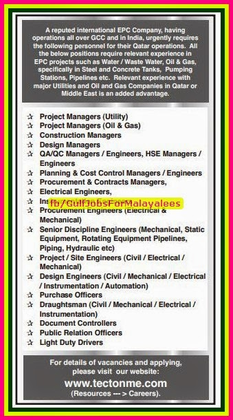 International EPC Company Oil & Gas Job Vacancies for Qatar & Middle