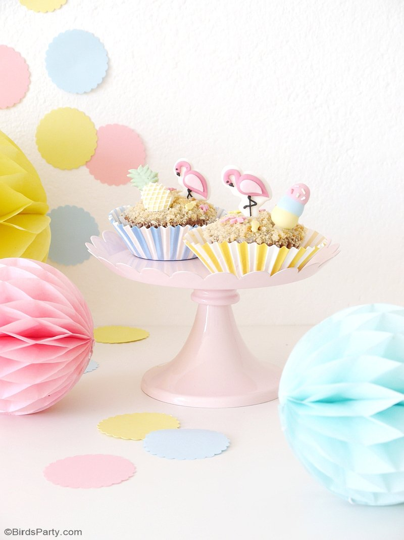 Easy Summer Beach Cupcakes - delicious, easy to make cupcakes with a tasty pina colada inspired frosting, perfect for any summer party! by BirdsParty.com @birdsparty #pinacolada #summerparty #summercupcakes #flamingocupcakes #tropicalcupcakes