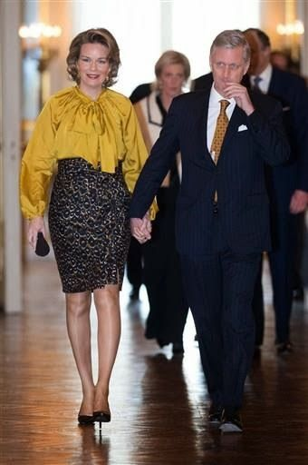 King Philippe and Queen Mathilde hosted a new year's reception at the Royal Palace in Brussels.