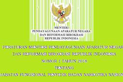 Permenpan RB No 1 [Tahun] 2018 (Tentang) Jabatan Fungsional PENYIDIK BADAN NARKOTIKA Nasional (BNN)