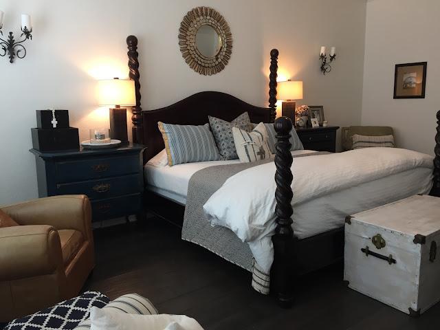 blue and white master bedroom makeover